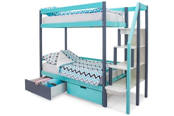 Двухъярусная кровать Бельмарко Мятный-Графит