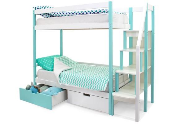 Двухъярусная кровать Бельмарко Мятный-Белый