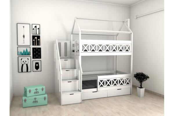 Двухъярусная кровать-домик Fulda с комодом
