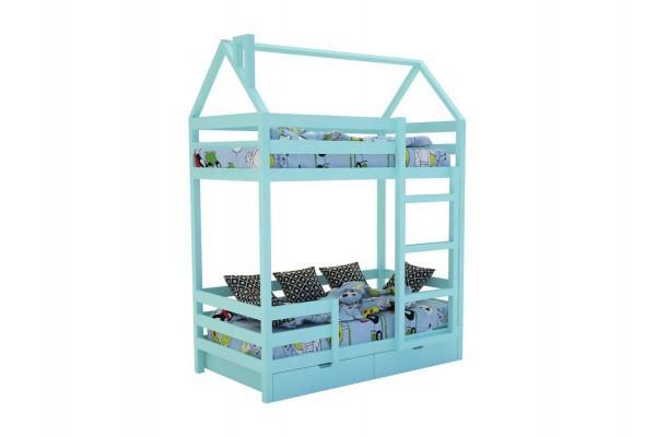 Кровать-домик «SCANDI» Двухъярусная Бирюзовый