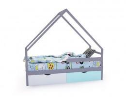 Кровать-домик «SCANDI» серо-белый