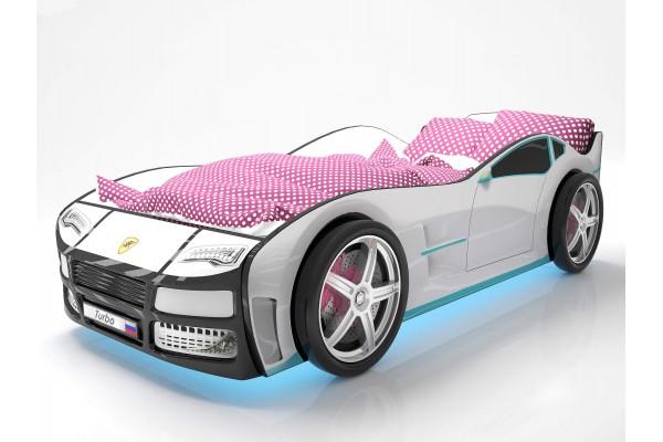 Объемная кровать машина Турбо Белая