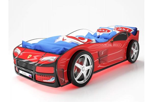 Объемная кровать машина Турбо Красная