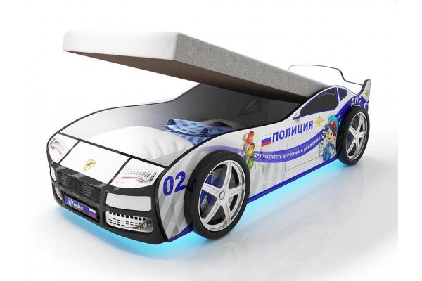 Кровать машина Турбо Полиция с подъемным матрасом