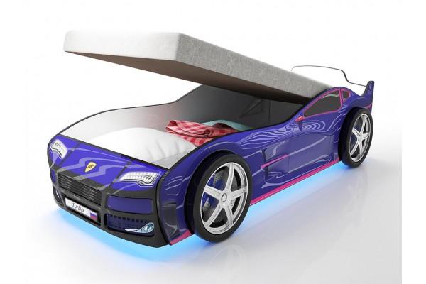 Кровать машина Турбо Синяя с подъемным матрасом