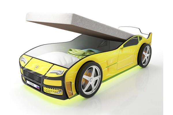 Кровать машина Турбо Желтая с подъемным матрасом