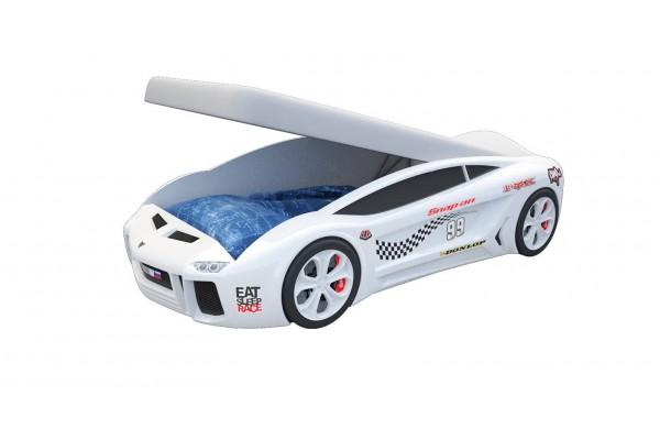 Кровать машина Ламба Next Белая2 с подъемным механизмом