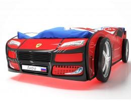 Кровать машина Турбо Красная с подъемным матрасом