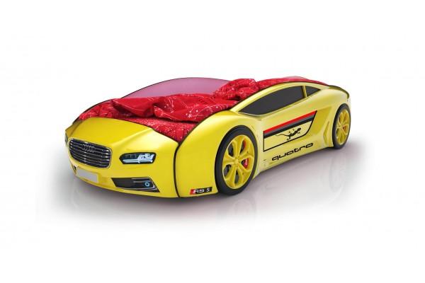 Объемная кровать машина Roadster Ауди Желтая
