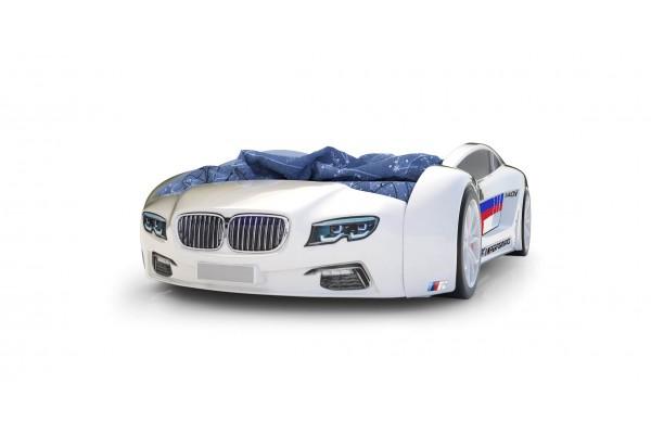 Объемная кровать машина Roadster БМВ Белая