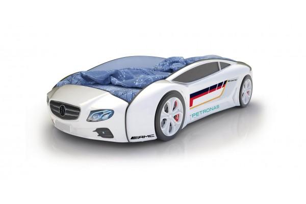 Объемная кровать машина Roadster Мерседес Белый