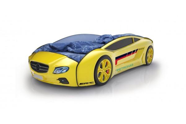 Объемная кровать машина Roadster Мерседес Желтый