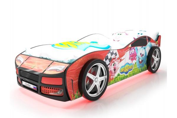 Объемная кровать машина Турбо смешарики красная