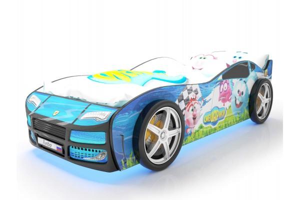 Объемная кровать машина Турбо смешарики синяя