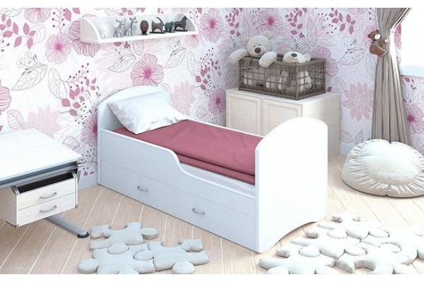 Детская кровать Classic Белая с ящиками