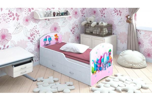 Детская кровать Classic Тролли с ящиками