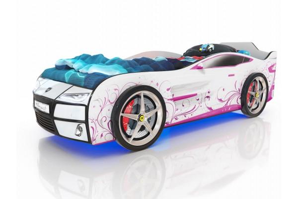 Детская кровать-машина Romack Розовая