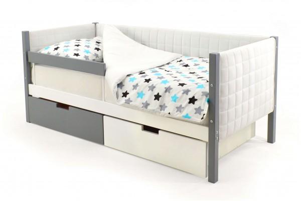 Детская кровать-тахта мягкая Бельмарко «Skogen графит-белый»