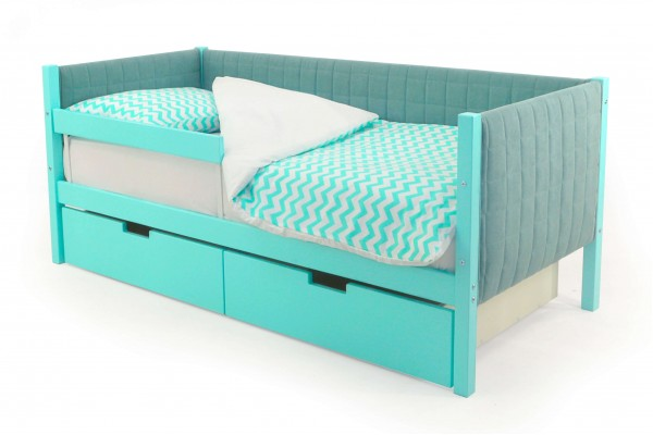 Детская кровать-тахта мягкая Бельмарко «Skogen мятный»