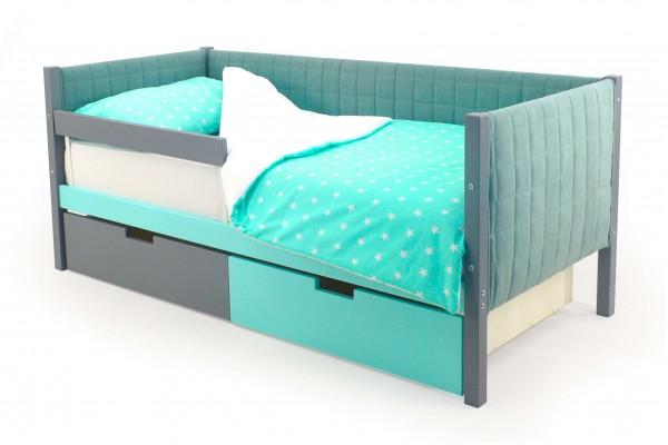 Детская кровать-тахта мягкая Бельмарко «Skogen мятный-графит»