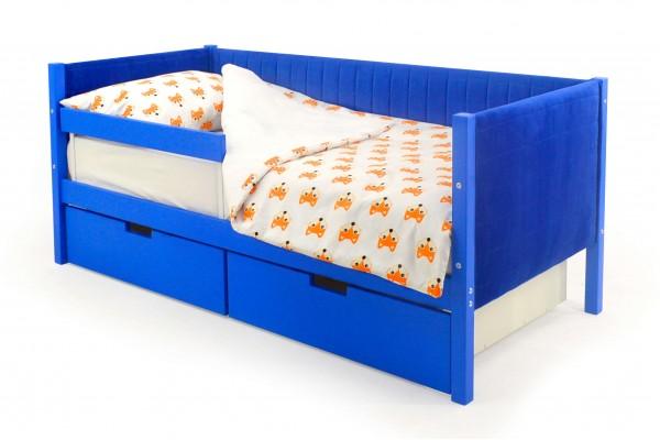 Детская кровать-тахта мягкая Бельмарко «Skogen синий»