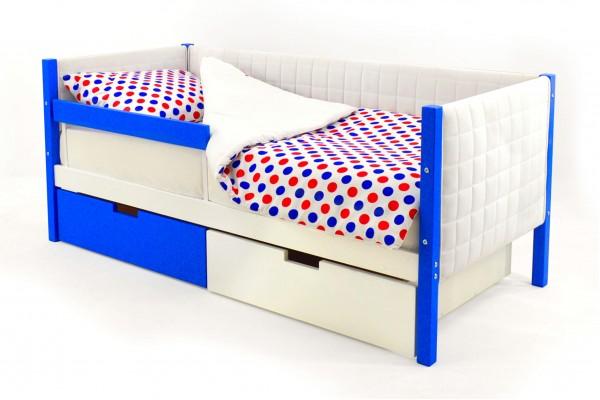 Детская кровать-тахта мягкая Бельмарко «Skogen синий-белый»