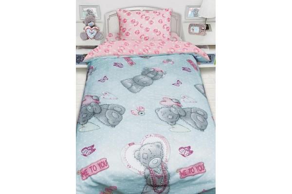 Детское постельное белье Тедди MTY с подарком на бирюзовом (бязь, 100% хлопок)