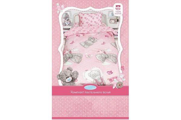 Детское постельное белье Тедди MTY с подарком на розовом (бязь, 100% хлопок)