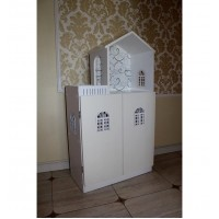 Кукольный домик. Стеллаж Белый с дверцами