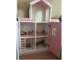 Кукольный домик. Стеллаж Розовый с дверцами