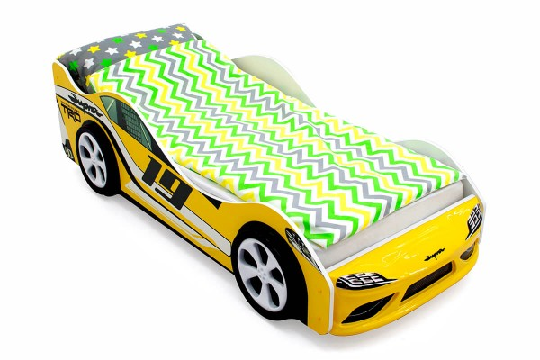 Объемная кровать машина Бельмарко Супра Желтая