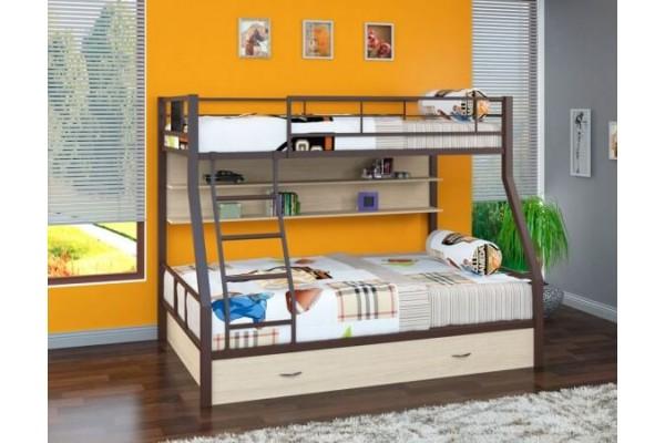 Кровать двухъярусная металлическая Гранада - 1 ПЯ Коричневый
