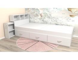 Подростковая кровать классическая белая с ящиками