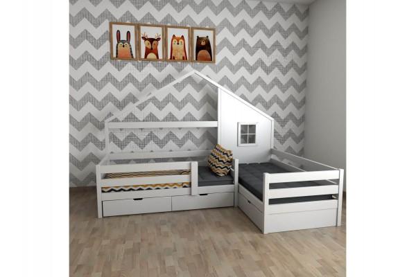 Детская кровать-домик двухместная угловая Twin Queen